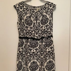 Emma & Michele Black and White Damask Dress